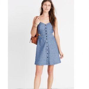 Madewell Chambray cutout Cami Blue Mini Dress